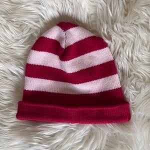 Pink/red white striped beanie where's Waldo hat